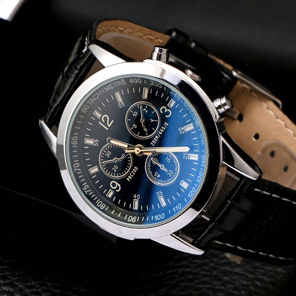 men watches 2018 Fashion luxury brand Watches Men Man's Business Quartz Watch Casual Leather Strap Wrist Watch with 3-Sub-Dials dropship migeer brand luxury fashion canvas strap watch men quartz watch casual males sport business wrist men watches
