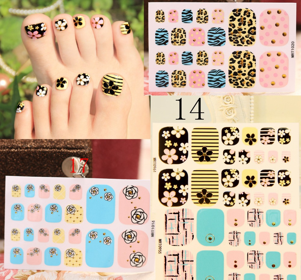 New Fashion black red Toe Nail Sticker Decal Water Transfer Sticker ...