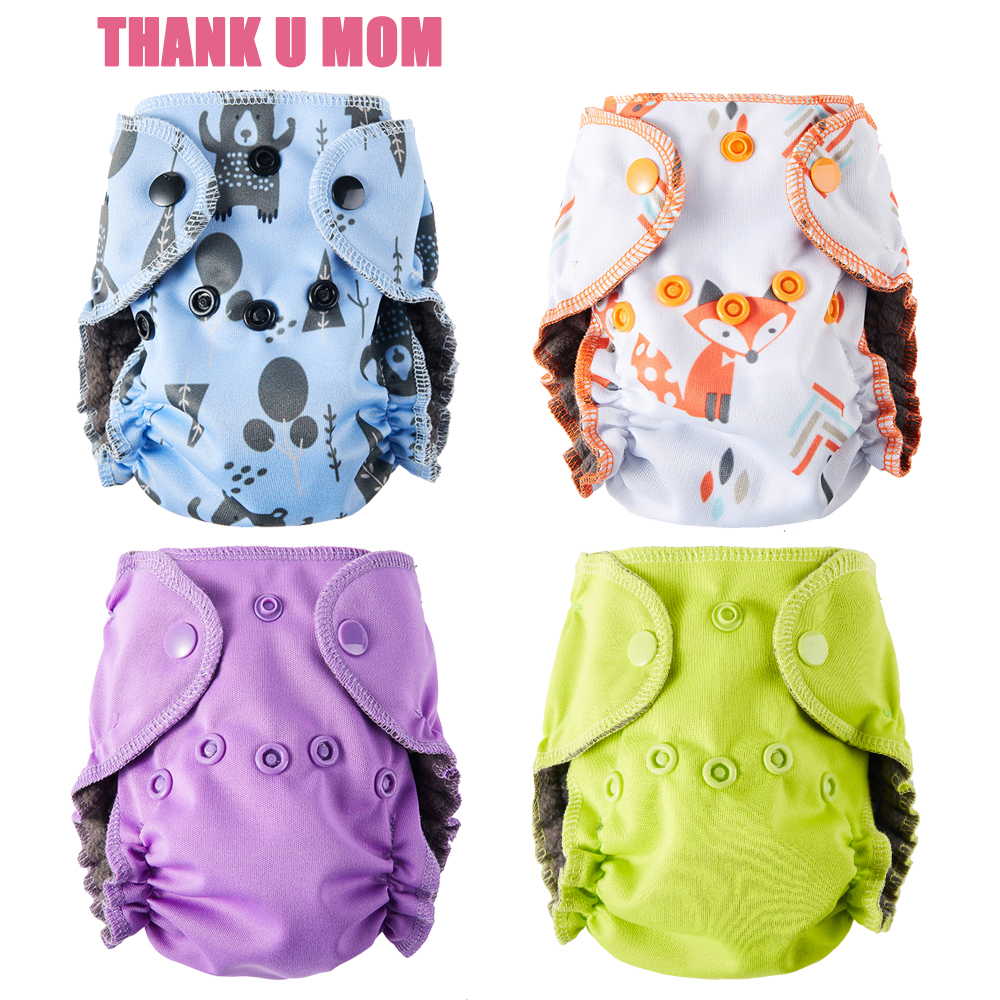 Thank U Mom Newborn Cloth Diaper NB Pocket Baby Diapers Charcoal Bamboo Inner PUL And Minky Outer Fit 6-11 Pounds Babies