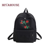 Miyahouse Rose Embroidery Design Backpack Girls Canvas School Backpack For Teenagers White Black Color Women Travel