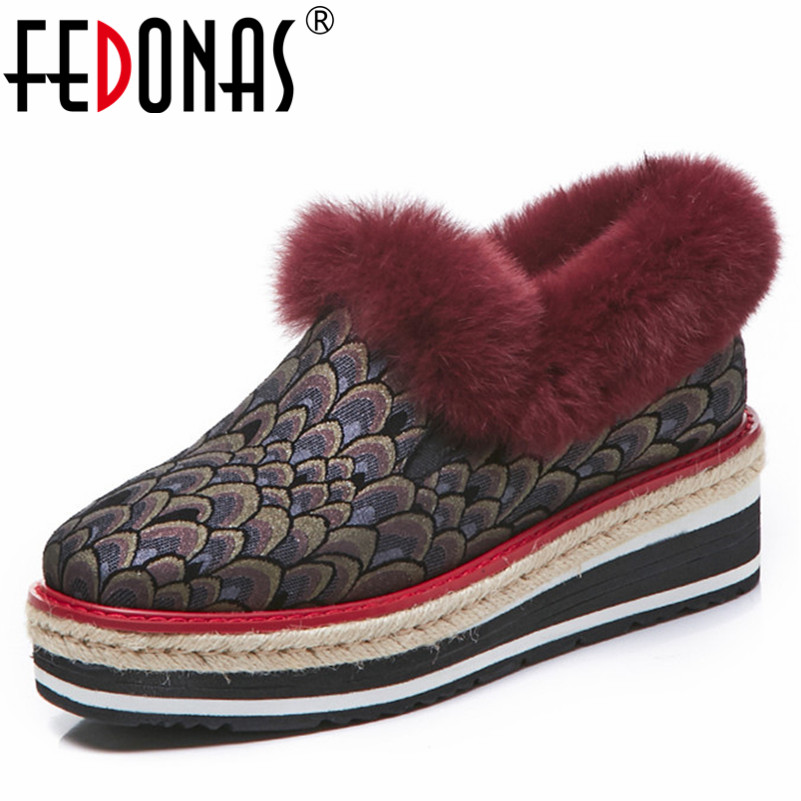 FEDONAS New Women Flats Platforms Round Toe Casual Shoes Woman Warm Autumn Winter Genuine Leather Slip On Flats Ladies Shoes цена 2017