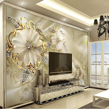 3d golden jewels flower European style court TV background wall professional custom wallpaper mural