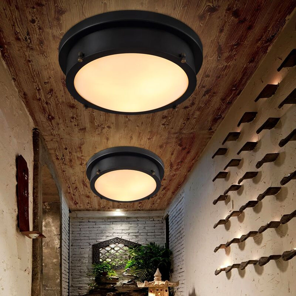 HGhomeart 24W Led Retro Flush Mount Ceiling Light Luminaria 110 220V American Style Led Ceiling Lamp