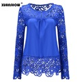 2017 Fashion Women Sheer Sleeve Embroidery Lace Crochet Tee Chiffon Spring Summer Shirt Top Blouse Good Quality