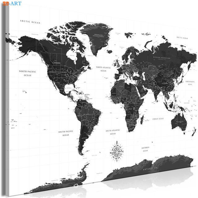 Modern Art Black And White World Map Canvas Painting Wall Art