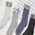 Autumn winter retro socks handmade sequined Creative Novelty Women Socks Silver Luxury ankle socks