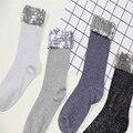 Otoño invierno retro calcetines hechos a mano Creativos de La Novedad Calcetines de Las Mujeres de Plata de lentejuelas de Lujo calcetines de tobillo