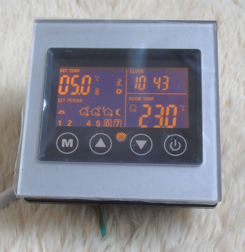 Touch screen underfloor heating weekly programming lcd heating thermostat with Acrylic silver touch screen