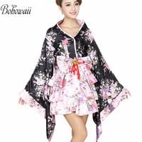 BOHOWAII Japanese Kimono Traditional Costume Anime Cosplay Lolita Halloween Fancy Dress Women Japan Style Ropa Japonesa