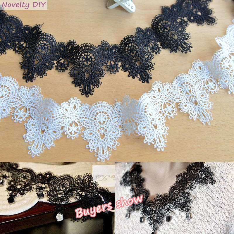 7yards(14y)/lot  Water Soluble Lace Trims Embroidered Lace Ribbon Lace Appliques Handmade Patchwork DIY  Lace Necklace LAVO562