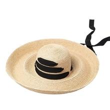 NEW-Black Bandage Ribbon Ladies Raffia Hat Roll Up Kentucky Derby Sun Large Wide Brim Summer Beach Straw
