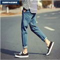 High Quality!summer Wear New Cultivate One's Morality Men's Light Color 9 Minutes Of Pants Pure Color Nine Points Of Jeans