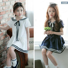 3-14 Y New 2019 Girl Navy Dress Summer Teens Girls Dresses Big Boys Lol Dolls Clothes Vestido Korean Children Clothing GDR660(China)