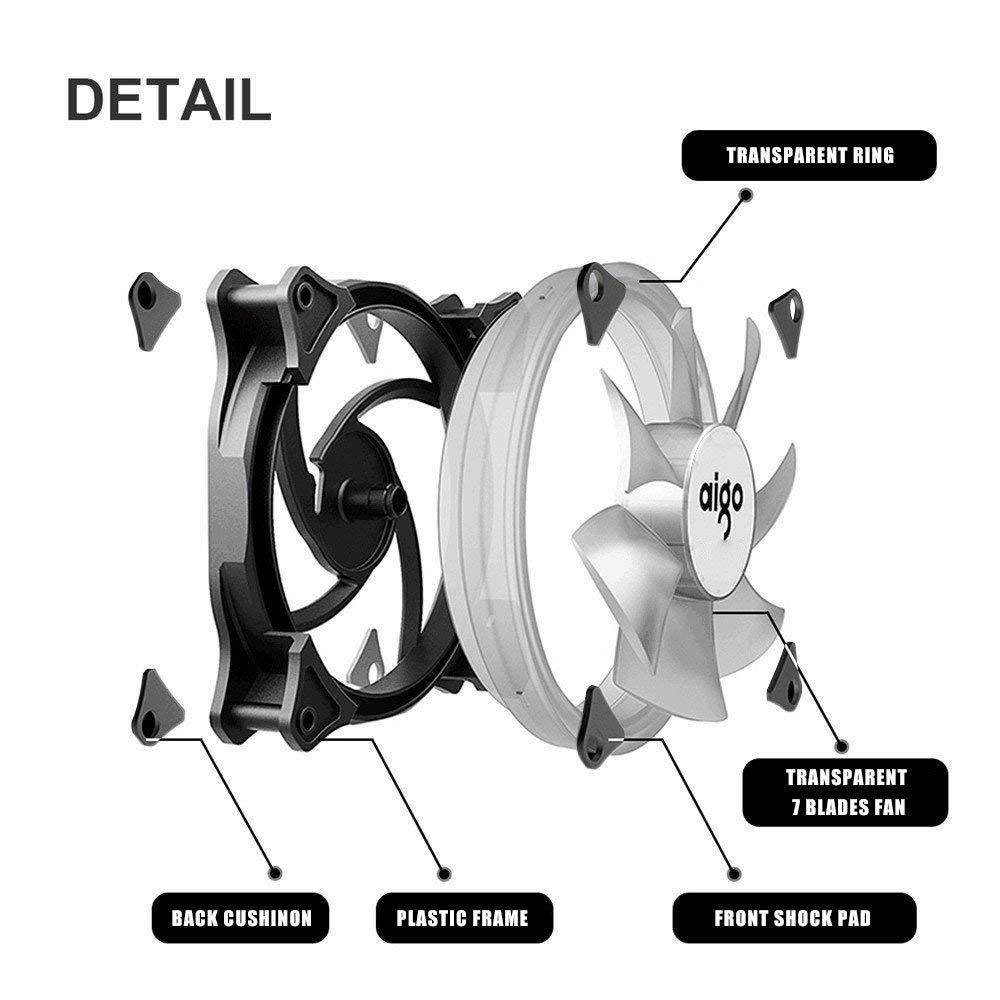 Aigo Halo Ring RGB Case Fan 140mm 3pin+4pin LED Case Fan for PC Case CPU Cooler Radiator Silent Desktop Computer Cooling Fans 2