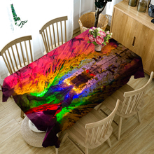 Senisaihon Custom size 3D Tablecloth Colorful Cave Landscape Pattern Dustproof Rectangular New Year Party Table Cover