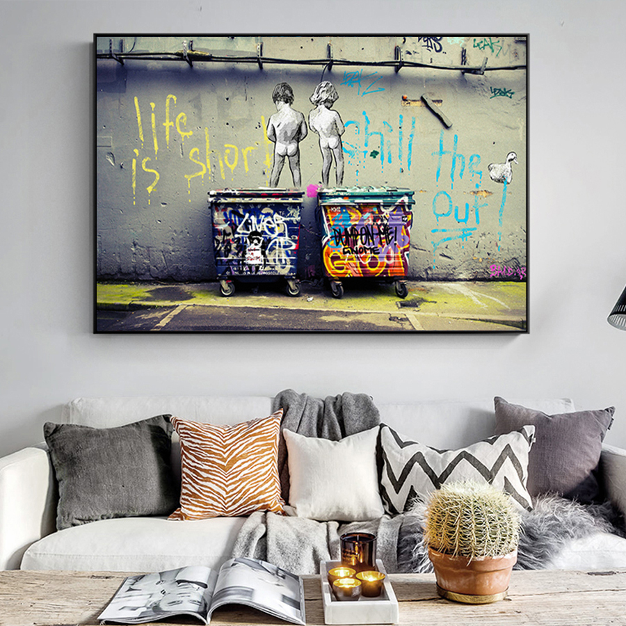 """HTB1fY.WadzvK1RkSnfoq6zMwVXab Banksy Graffiti Art Abstract Canvas Painting Posters and Prints """"Life Is Short Chill The Duck Out"""" Wall Canvas Art Home Decor"""