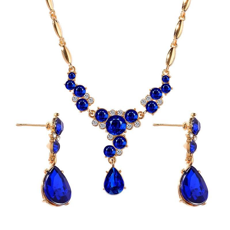 Novo design feminino conjunto de jóias de casamento brinco de cristal colar pingente de strass novo terno orelha parafuso prisioneiro brinco conjuntos de jóias