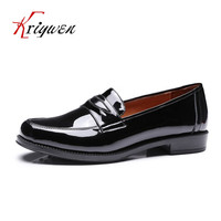 Spring New Flats Genuine Leather Women British Style Rome Solid Round Toe Shoes For Dress Cow