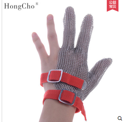 3 finger Cut Resistant Gloves Anti Cut Food Grade Level 5 Kitchen Butcher Protection three finger glove wholesale welding 304l stainless level 5 cut proof metal mittens both hand can use butcher glove lobster glove sewing glove