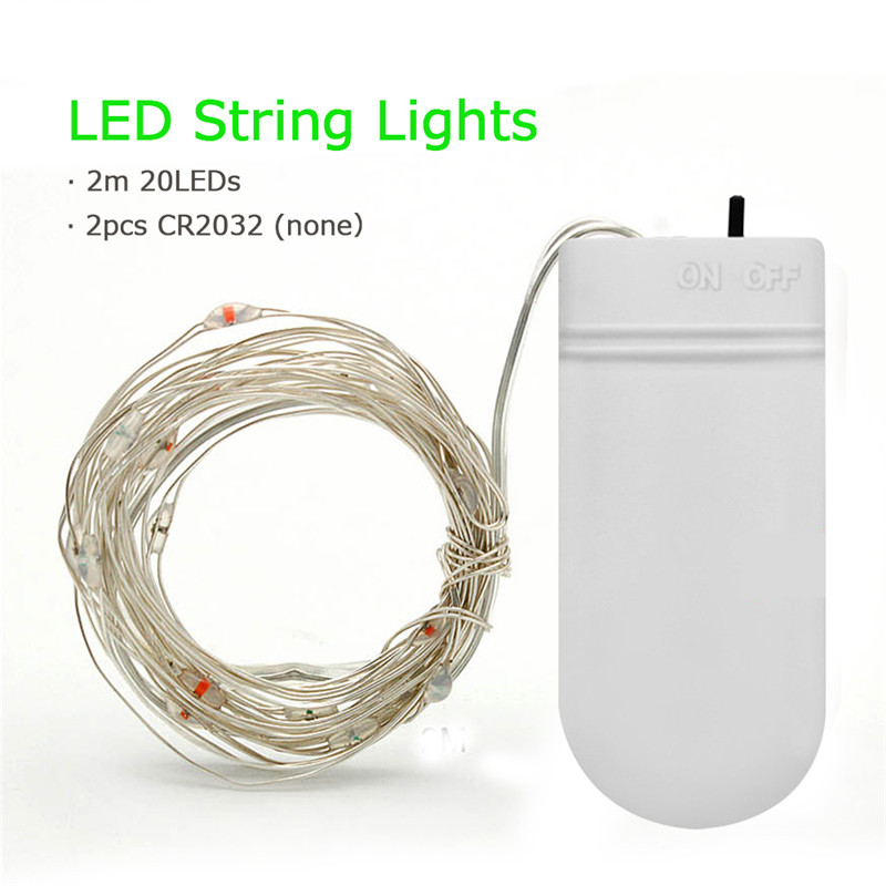 ZjRight 2M 20 leds Silver Wire Fairy Garland Lamp LED String Lights Christmas Wedding holiday Party Decoration Powered By CR2032