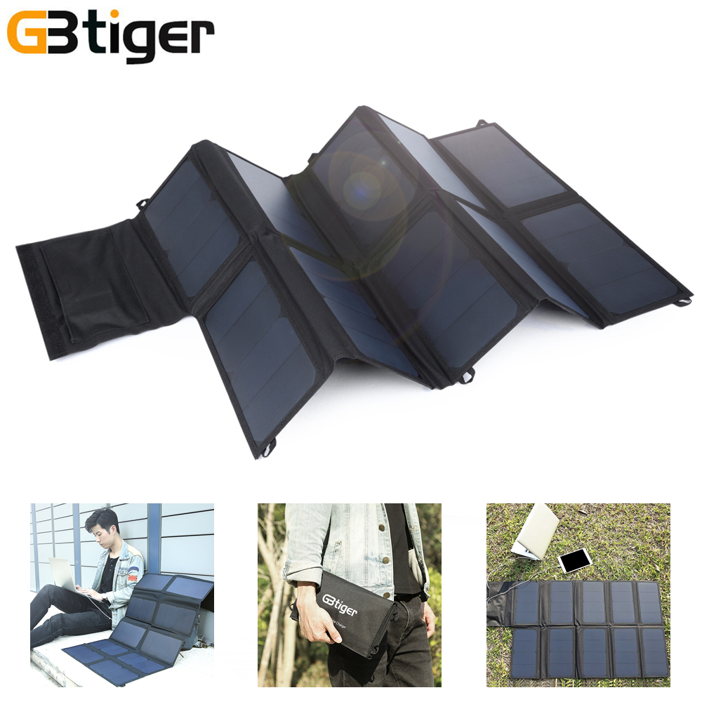 GBtiger 65W Sunpower Solar Charger Dual USB Outputs Portable Panel Battery Charger Folding Emergency Bag for Phone Tablet PC gbtiger розовый