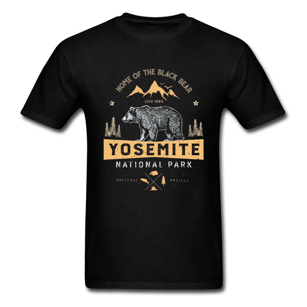 Stay Wild Forest Mountain Bear Tshirts Yosemite National Park California Animal Printed Men's T Shirt Cotton Custom Clothes