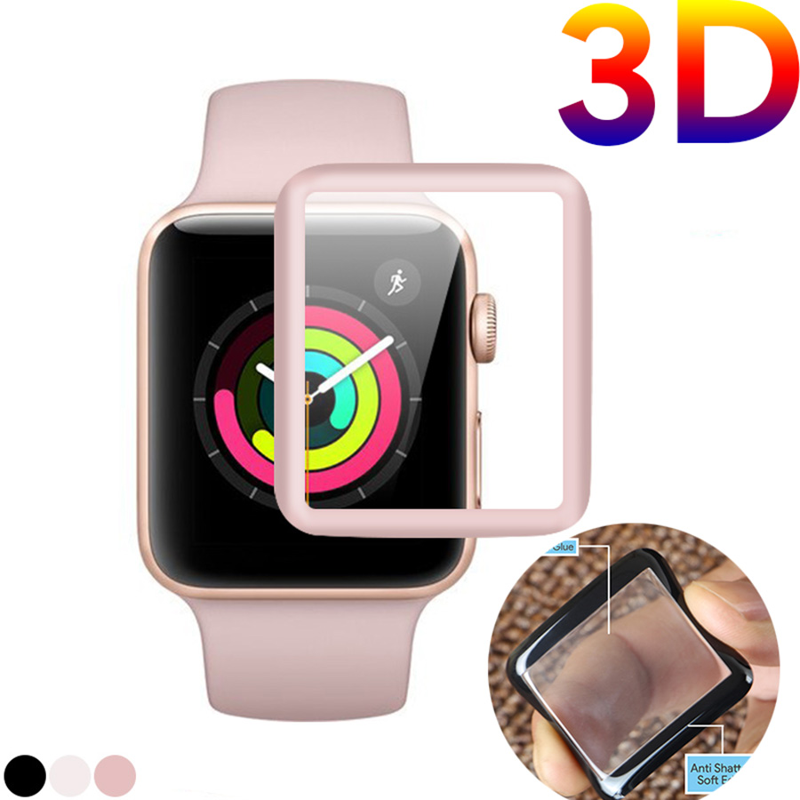3D Curved Soft Edge Tempered Glass For IWatch Screen Protector Film Full Cover For Apple Watch 42mm 38mm Series 3/2/1