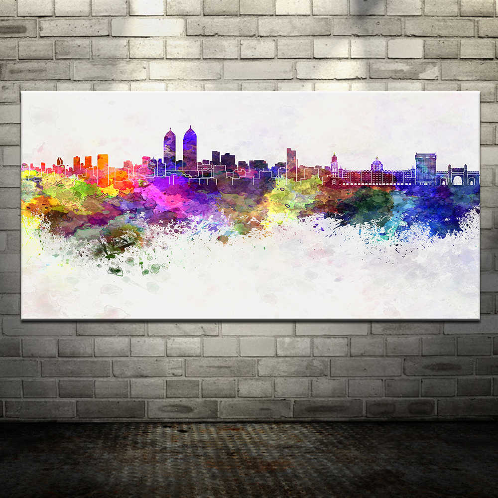Large Modern Printed Oil Painting On Canvas Dream City Colorful Wall Paintings Picture For Living Room Wall Art Decor Framed