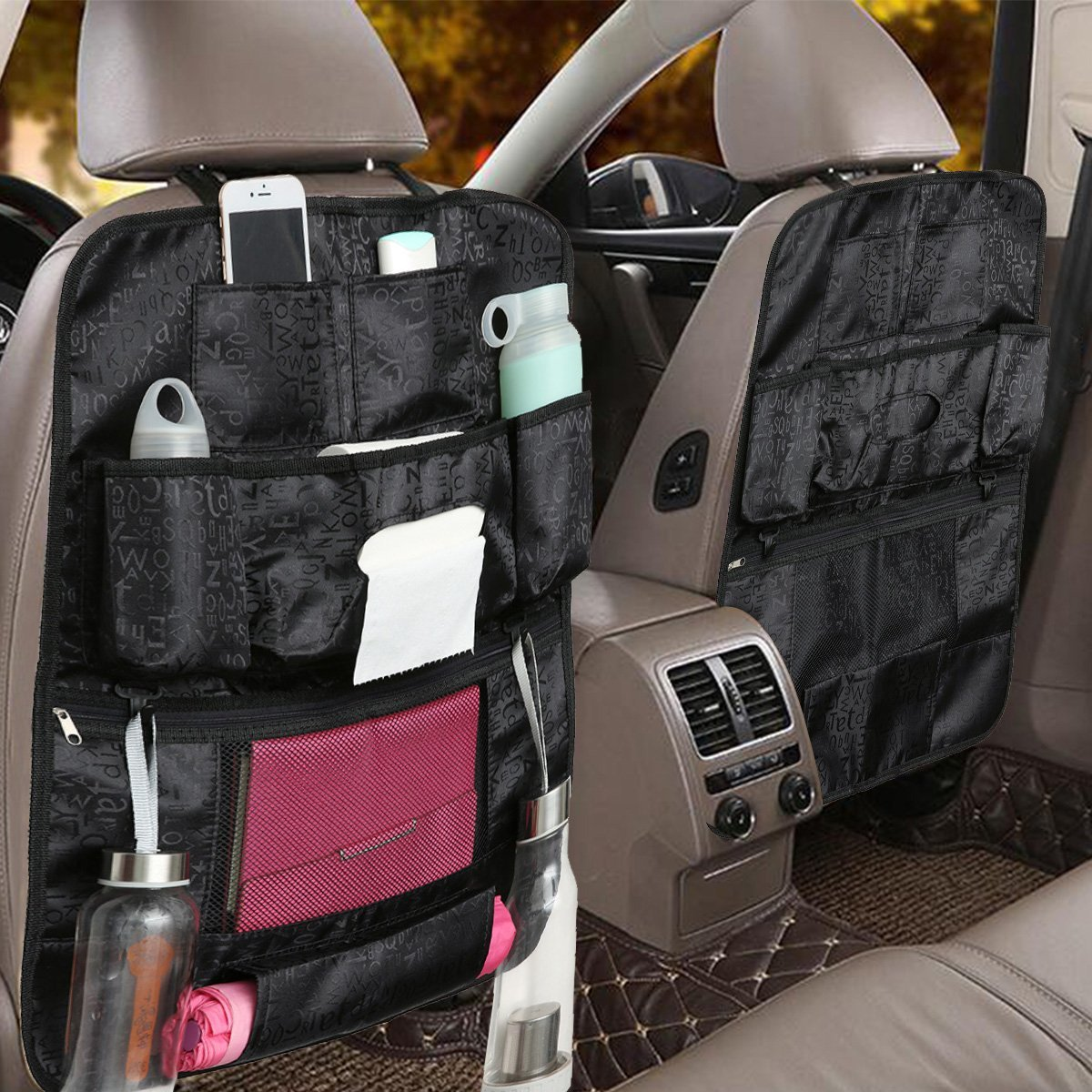 AUDEW Muti-functional Car Seat Hanging Bags Automobile Car Seat Back Protector dust-proof Children Kick Mat Back Seat Pockets