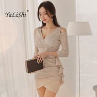 2018 Spring Women Dress Off The Shoulder Lace Patchwork Ruffles V Neck Package Hip Dress Sexy