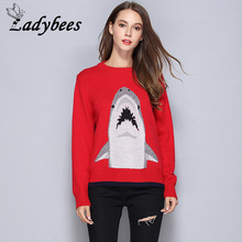 LADYBEES Women Red Sweaters Shark Printed Wool Knitted Tops Warm High Quality Casual Pullovers 2017 Autumn Winter Christmas Wear
