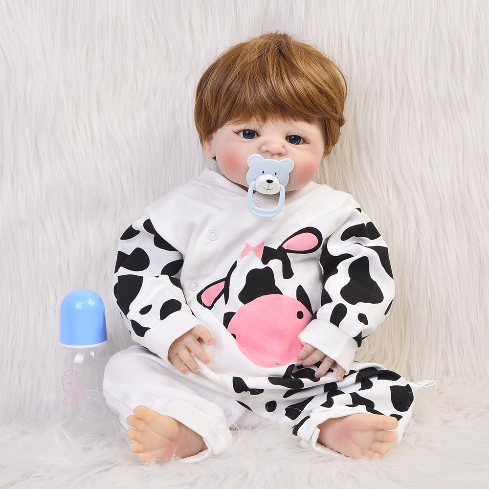 2018 Hot Sale Reborn Dolls Babies 23 Full Silicone Vinyl Cosplay Milk Cow DIY Baby Toys Kids Birthday Gifts For Girl sma r dual bluetooth smart watch