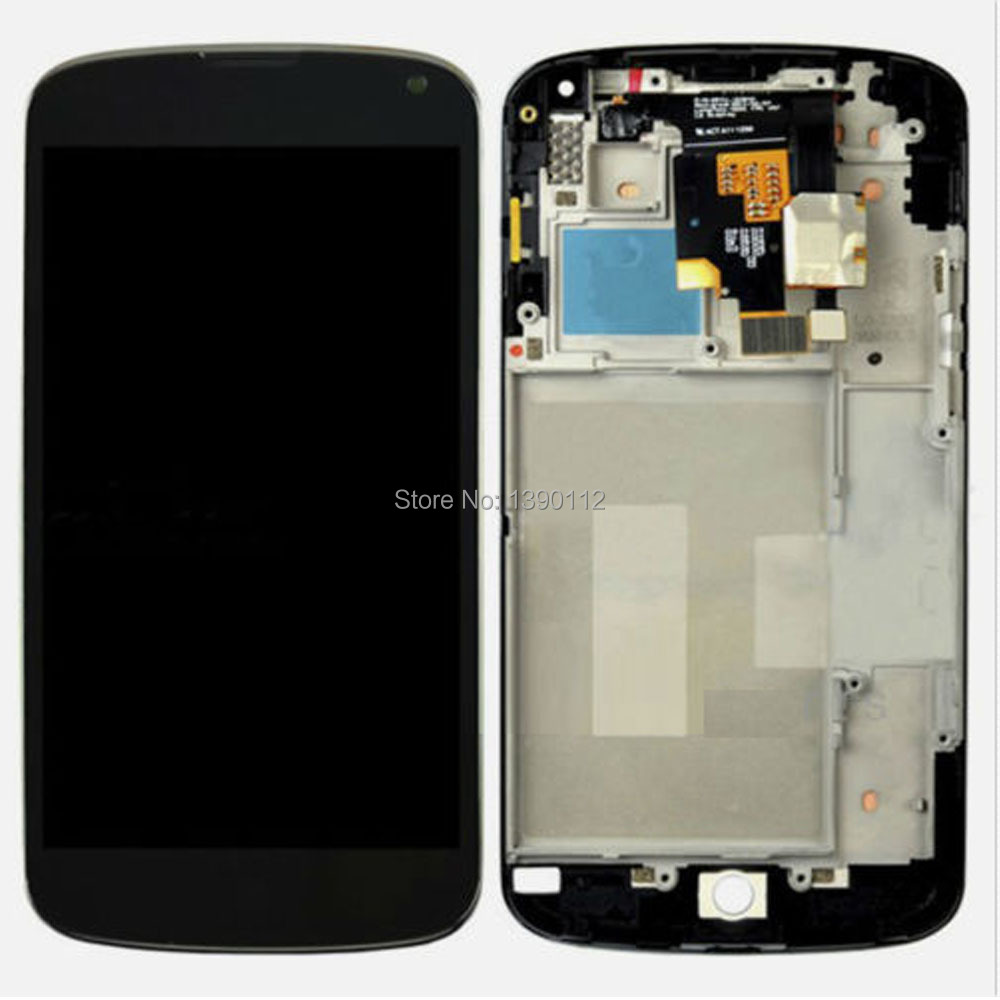 For LG Google Nexus 4 E960 LCD Touch Digitizer Screen Assembly Housing Frame OEM new lcd touch screen digitizer with frame assembly for lg google nexus 5 d820 d821 free shipping