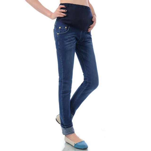 2017 Nova Primavera Roupas Jeans de Alta Qualidade Calças de Algodão de Maternidade Para As Mulheres Grávidas Calças Jeans calças de Brim da Gravidez Plus Size
