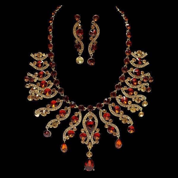 2017 Новый Свадебные Украшения Золотые И Серебряные Позолоченные Полный Кристалл Ожерелье и Серьги Африканских Свадебные Ювелирные наборы QXQ-G056