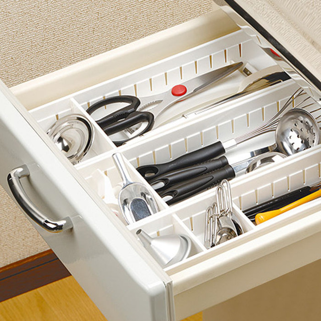 An Style Plastic Kitchen Cabinet Drawer Cutlery Fork Knife Storage Case Bathroom Cosmetic Organizer Box
