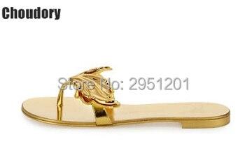 2020 Summer gold Silver Flat Sandal flip flops flat shoes women Wing leaf Sandals Lady Slides chaussure femme