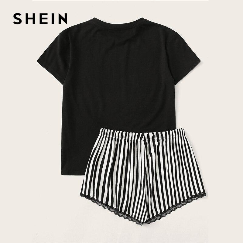 Image 3 - SHEIN Black Letter Print Top and Lace Trim Striped Shorts PJ Set Summer Pajamas Women Casual Sleepwear Nightwear Pajama Sets-in Pajama Sets from Underwear & Sleepwears