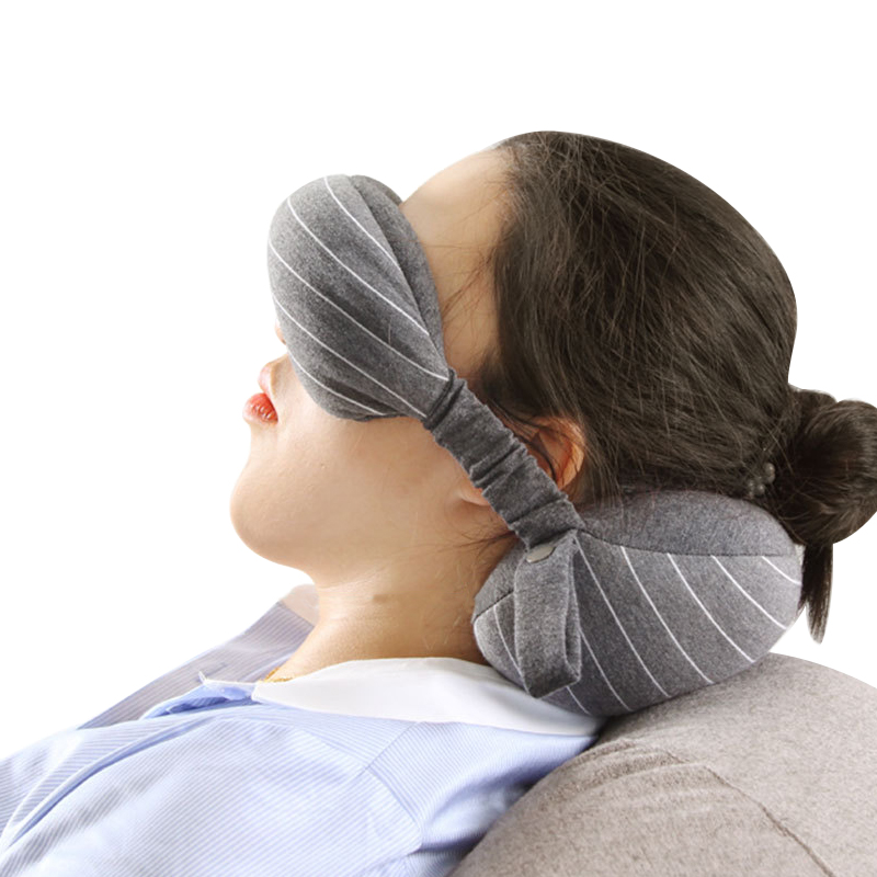 Soft Cotton U Shaped Travel Accessories Eyes hade Neck Rest Head Support Office Airplane Nap Gadget Traveling Flight Car image