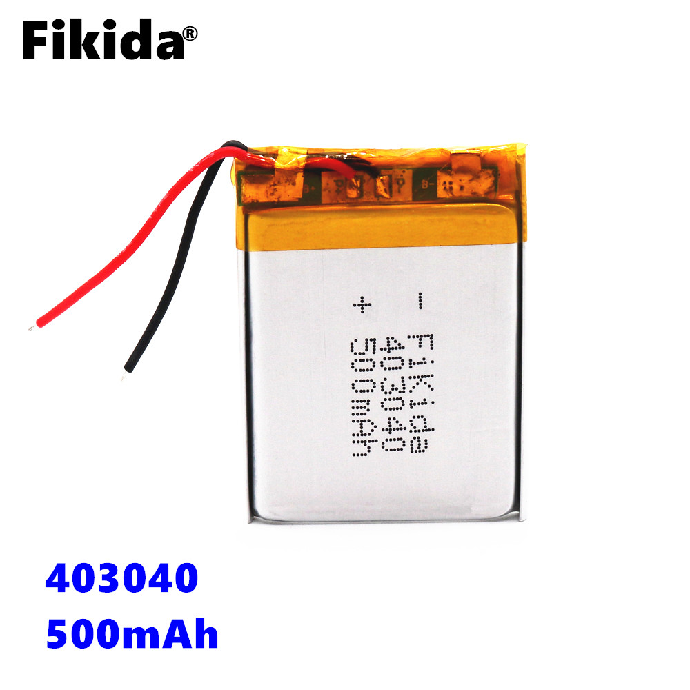 3.7V 500mAh 403040 Lithium Polymer Li-Po li ion Rechargeable Battery Lipo cells For Tachograph Car DVR Bluetooth speaker Camera 503030 3 7v 500mah 453030 lithium polymer rechargeable battery li po li ion for mp3 dvd camera gps bluetooth electronics