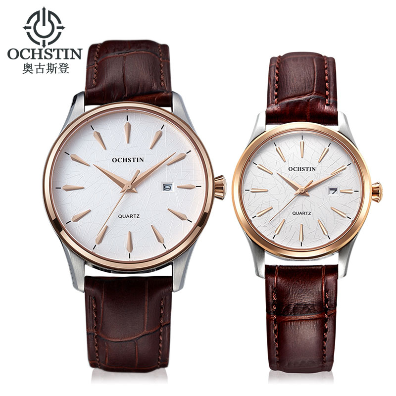 2018 New Unique Design Lover's Men Women Business Watch Leather Wrist Watches Luxury Brand Couple Watch Calendar Montre Femme