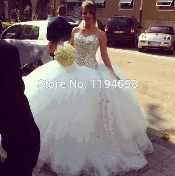 Free Shipping Sweetheart Custom Made Ivory/White Tulle Big Poofy ...