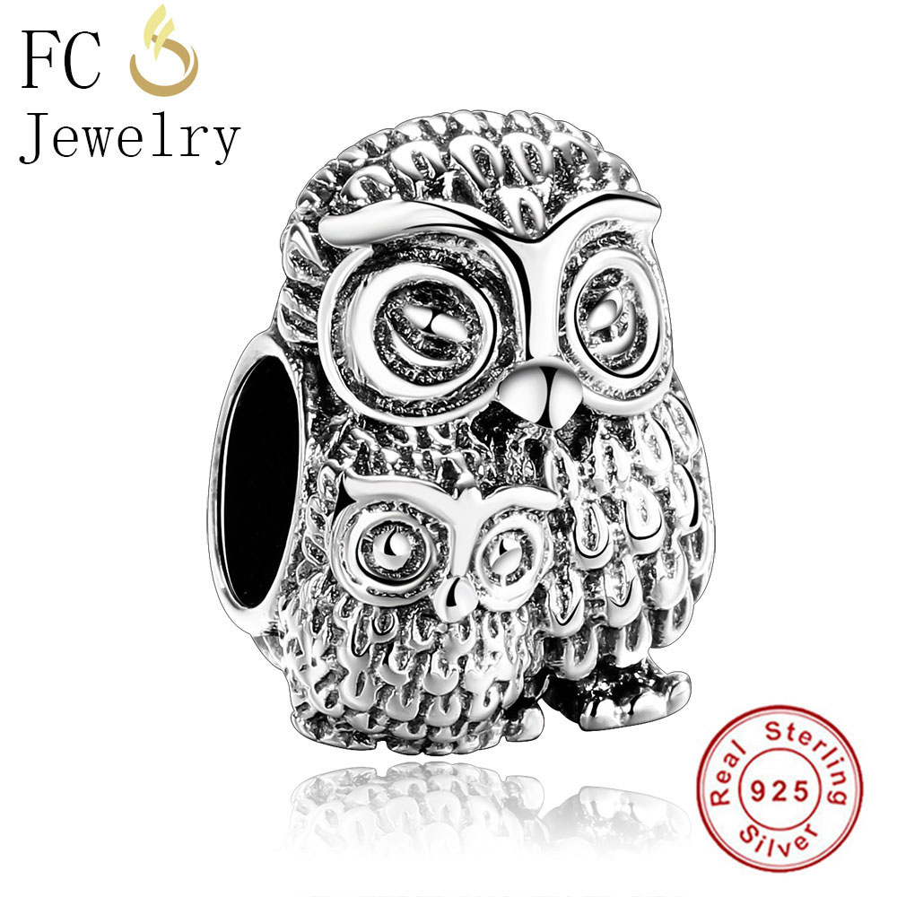 Animal Charms for Bracelet Necklace Chic Owl Charm Elegant SILVER Jewellery