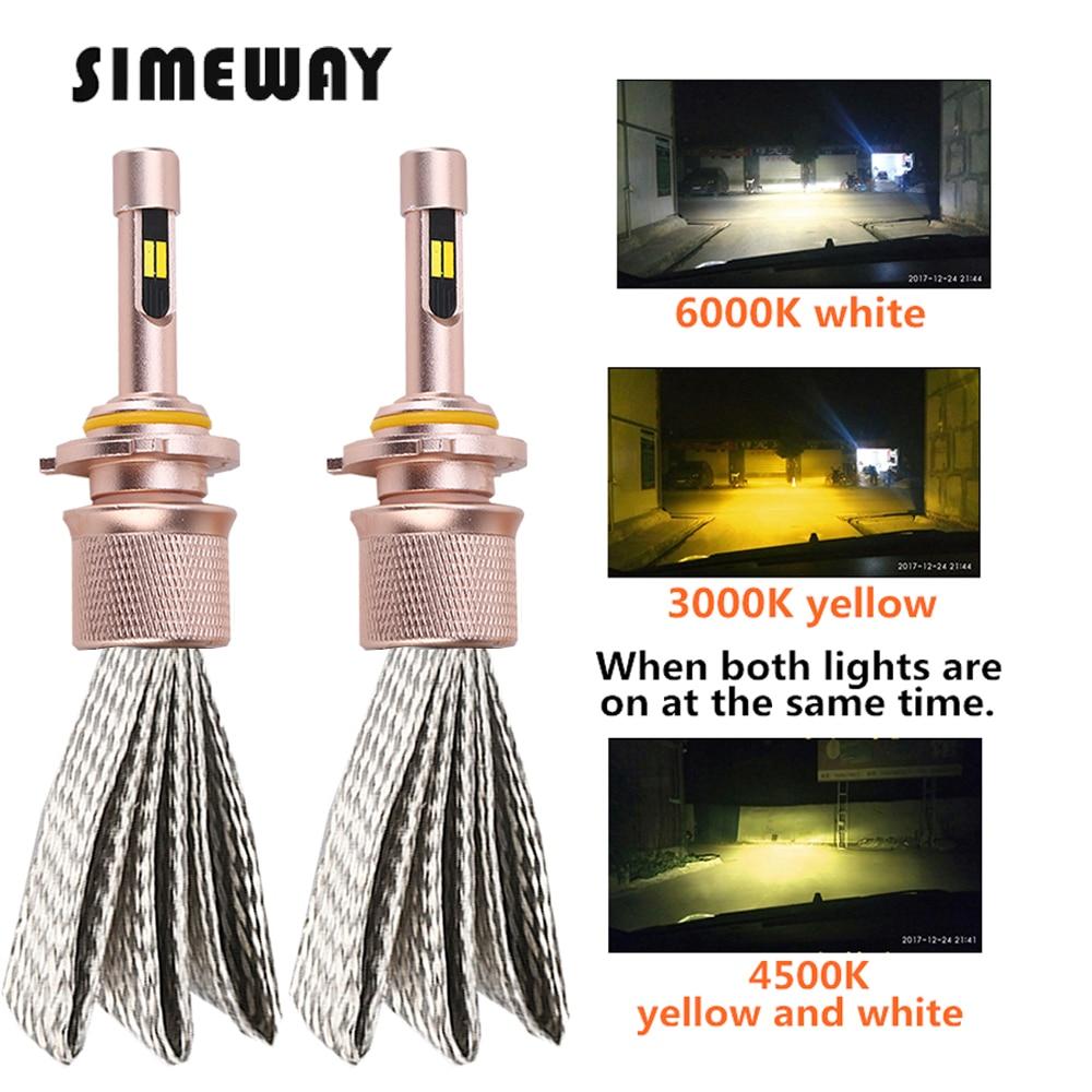 2 шт., Автомобильные светодиодные лампы H3 H1 H11 H16 9005 9012 D2S 12 В 5205, трехцветные светодиодные лампы 3000K 6000K 4300K H8 9006 880 h27w