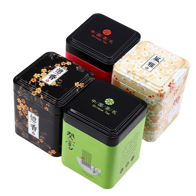 1PC Vintage Caddy Pastoral Candy Tin Mini Iron Storage Boxes Sealed Coffee Powder Cans Leaves Container Metal Organizer