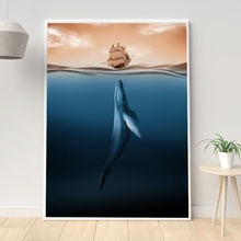 Nordic Minimalist style Marine Animal Whale dolphin Canvas Art Print Nursery Prints Anime Poster Modern Abstract Wall Decor