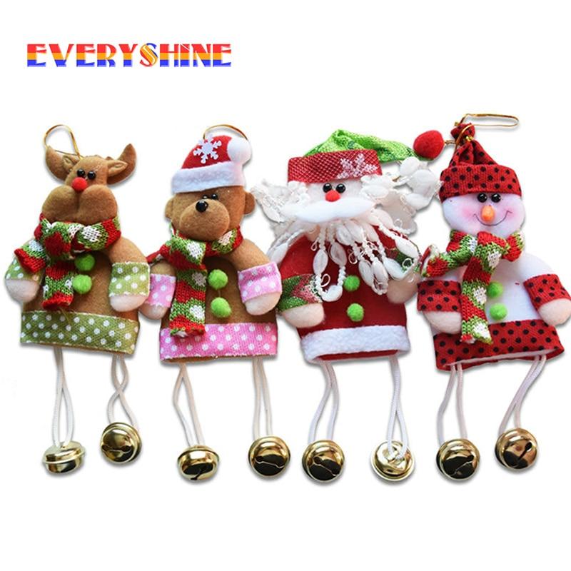2019 New 1pcs Santa Pendant Christmas Tree Ornaments Hanging with Jingle Bells Christmas Decoration Supplies Length 23cm SD207