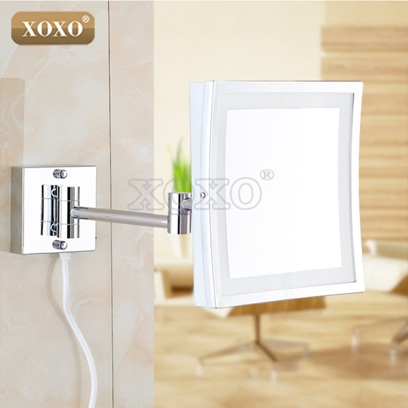 XOXO The Hotel Bathroom Square Wall Hanging Telescopic Magnifying Cosmetic Mirror LED Lamp With A Single