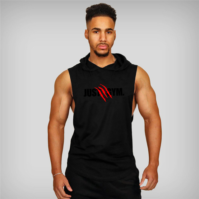 Muscle Guys Brand Mens Gyms Tank Top Hoodies Fitness men Sleeveless Shirt Hooded Sweatshirts Singlets Men Stringer Vest man 10