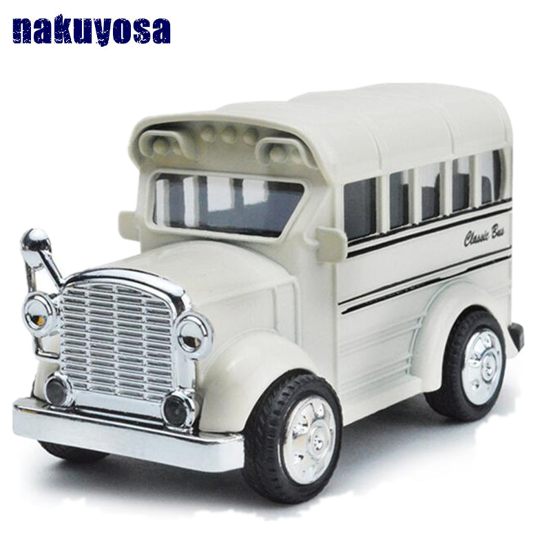 1:36 Q styles mini vintage school bus car sound&light pull back car Model Toys brinquedos For Kids Birthday Gift